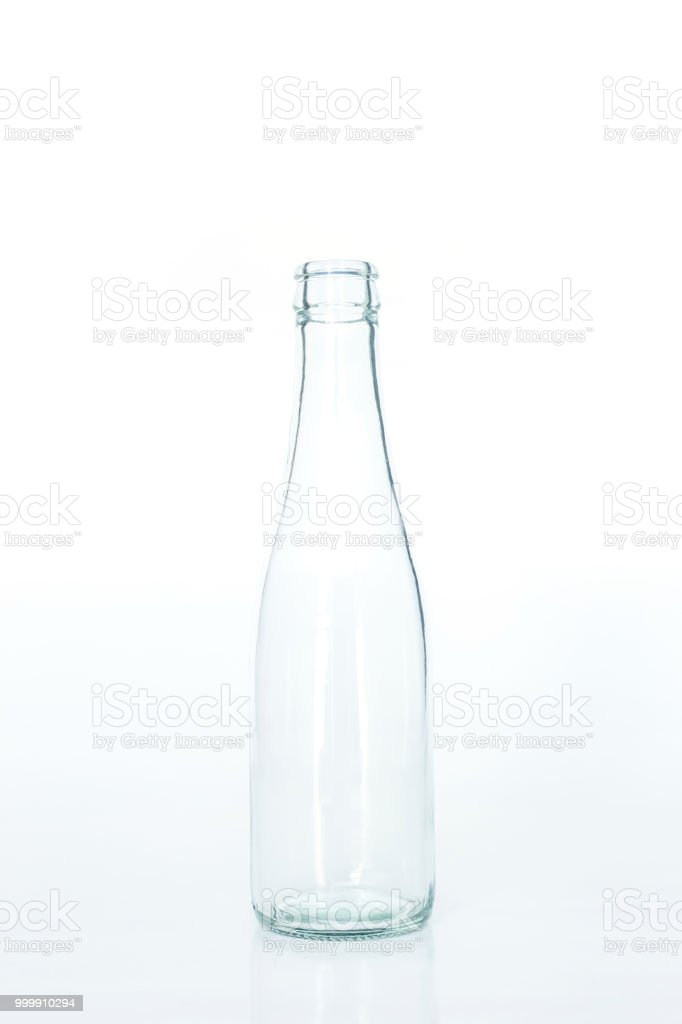 2c584b255133 Glass Bottle Clear Empty On White Background Stock Photo - Download ...