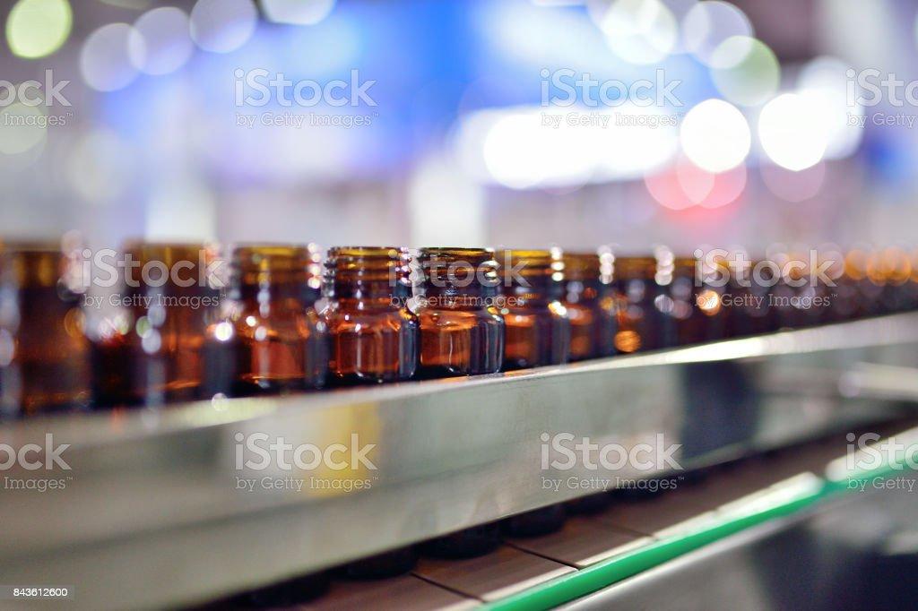 Glass Bottle Filling stock photo