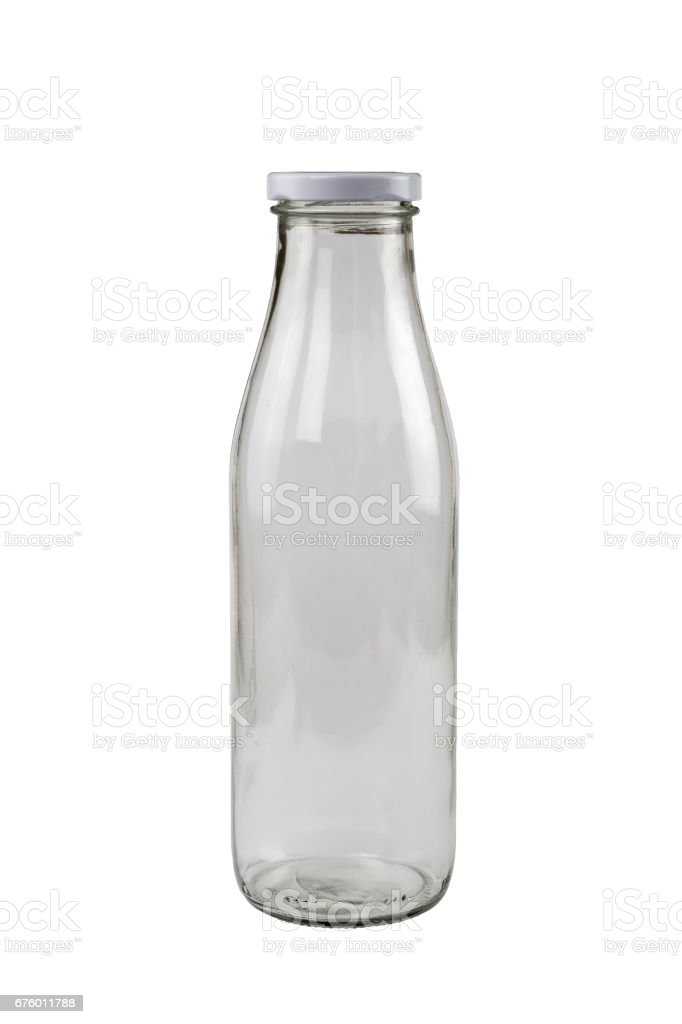 Glass bottle for milk or other beverages stock photo