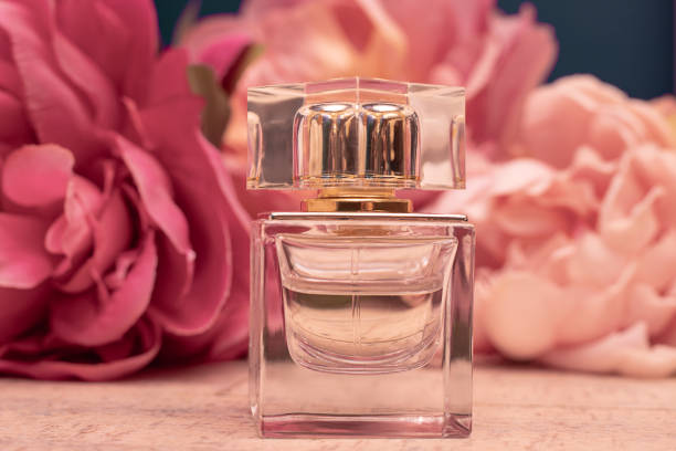 botol kaca eau de toilette harum dengan latar belakang peony merah muda. konsep parfum wanita. mock up - perfume gift  potret stok, foto, & gambar bebas royalti