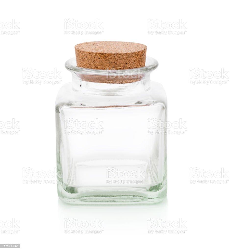 Glass bottle on white background stock photo