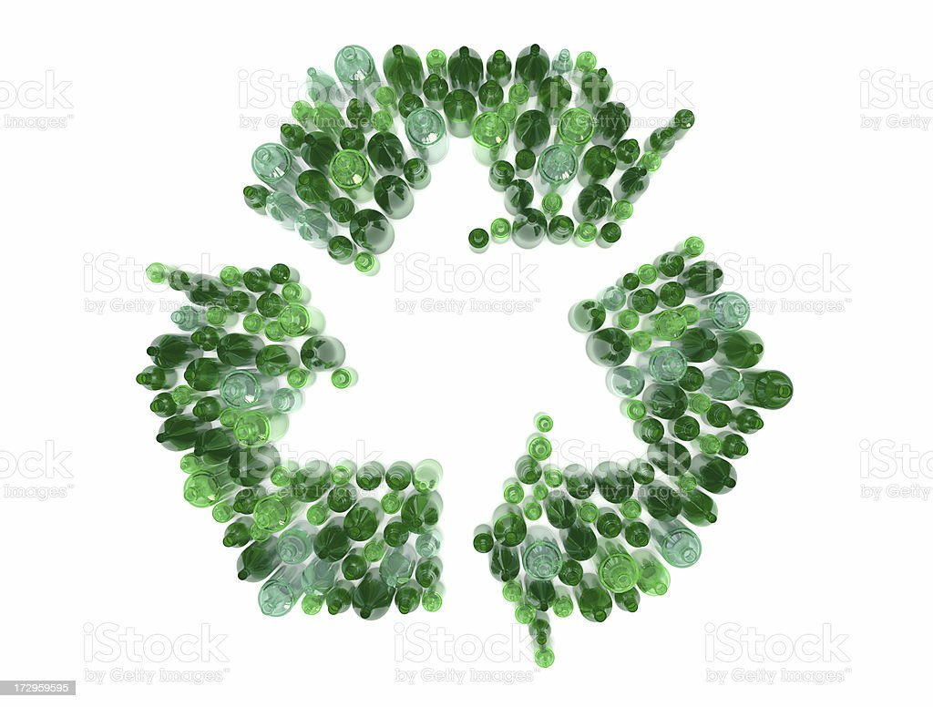 glass bottle recycling arrows stock photo