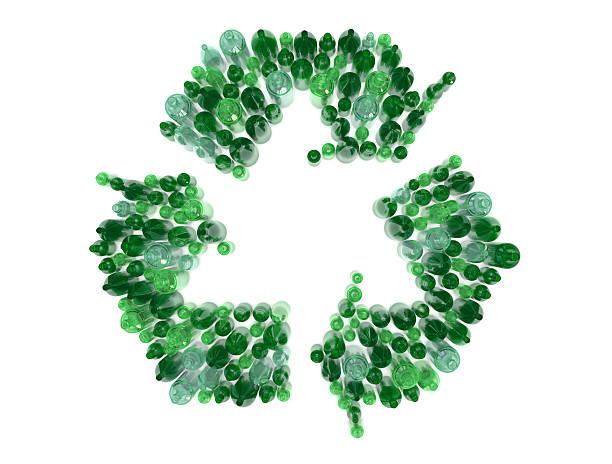 glas-flasche recyceln pfeile - recycelte weinflaschen stock-fotos und bilder