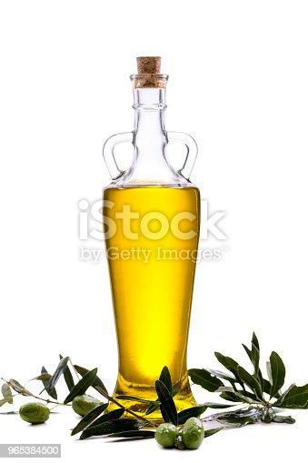 Glass Bottle With Extra Olive Oil And Olive Branch Isolated On A White - Stockowe zdjęcia i więcej obrazów Bez ludzi