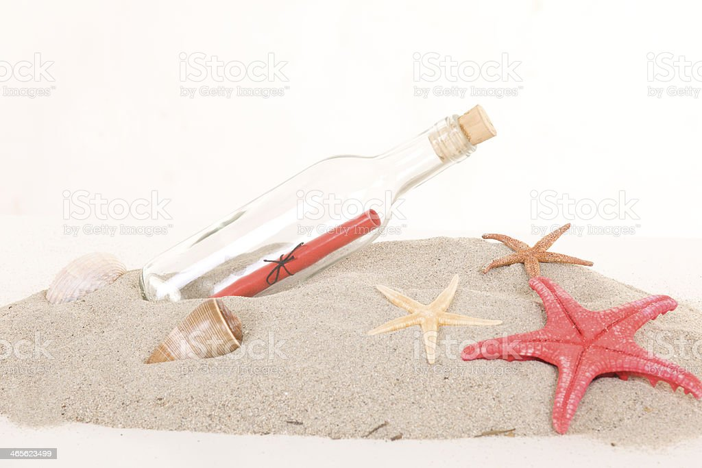 Glass bottle with note inside on sand royalty-free stock photo