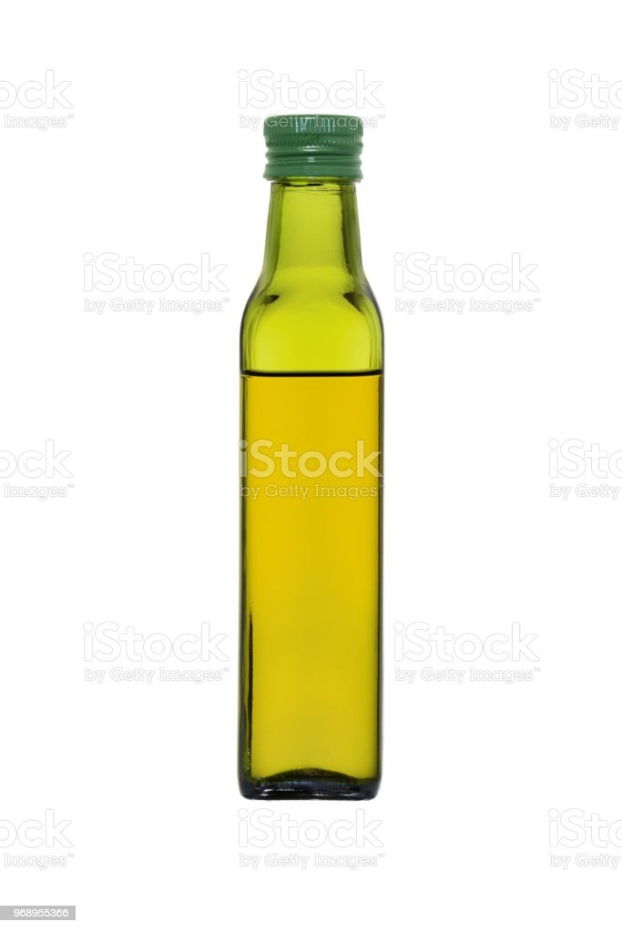 Glass Bottle With Olive Oil Isolated On White Background