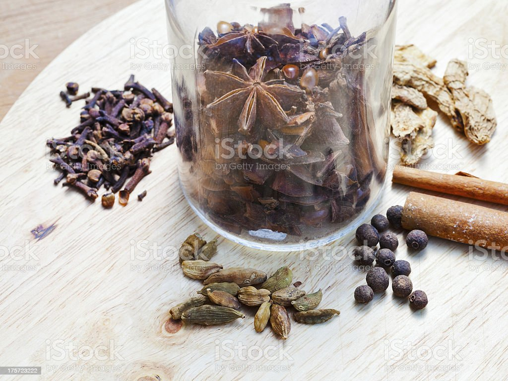 glass bottle with set of spices royalty-free stock photo