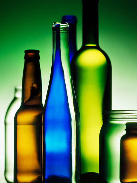 Glass Bottles and containers, Background stock photo