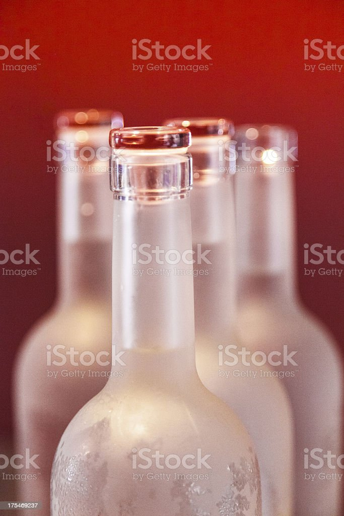 Glass bottles lined up royalty-free stock photo