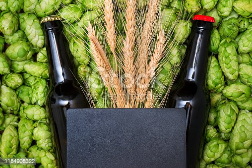 istock A glass bottles of beer, green cones of hops and wheat grain with copy space. Top view. Free space for text 1184908322