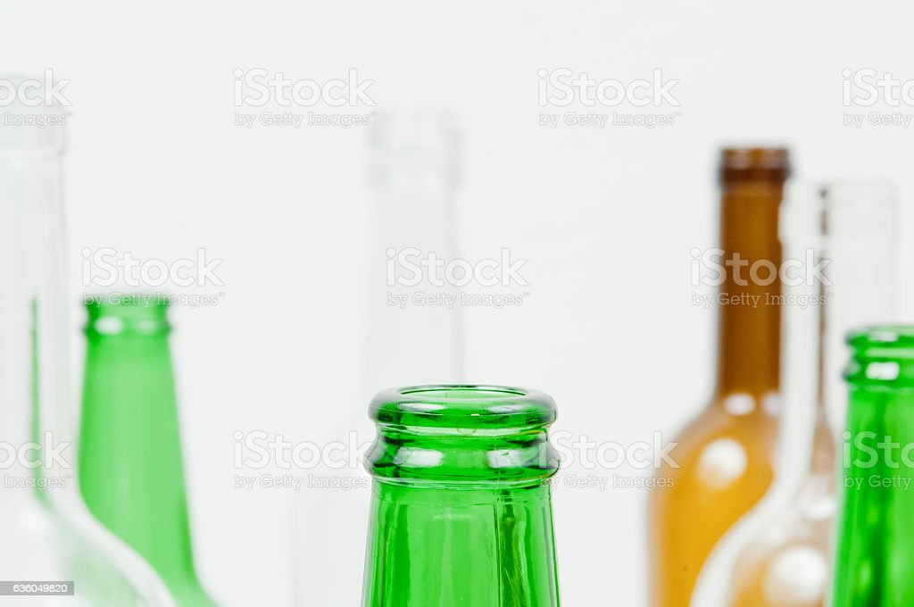 Glass Bottles Of Mixed Colors Including Green Clear White Brown