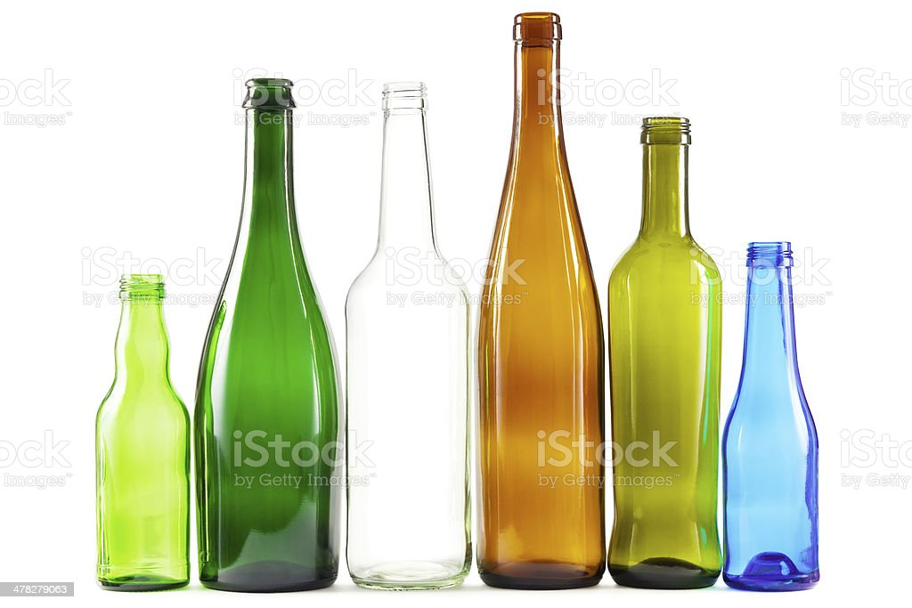 Glass bottles of mixed colors stock photo