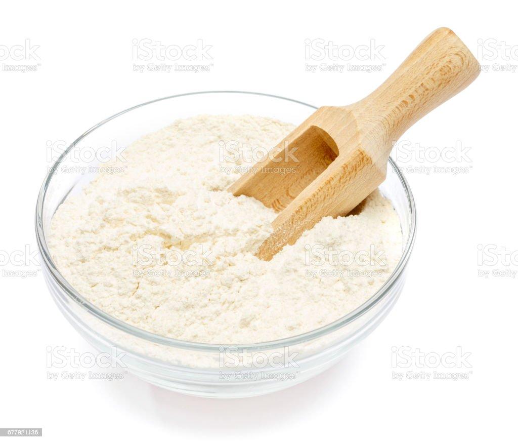 Glass bowl of wheat flour royalty-free stock photo