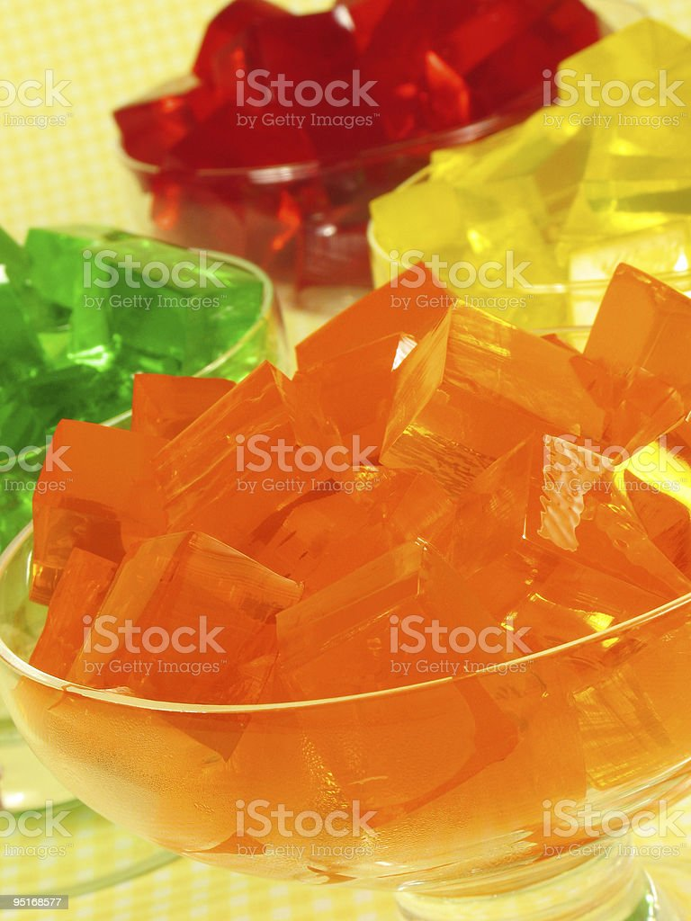Glass bowls of colorful cubed gelatin royalty-free stock photo