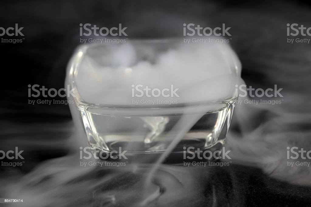Glass bowls with fog stock photo