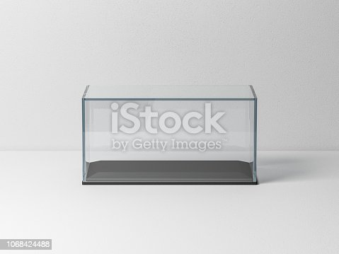 istock Glass box Mockup with black podium for product presentation or scale car model 1068424488