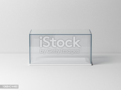istock Glass box Mockup with white podium for product presentation or scale car model 1068424460