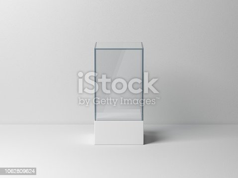 istock Glass box package Mockup for product presentation 1062809624