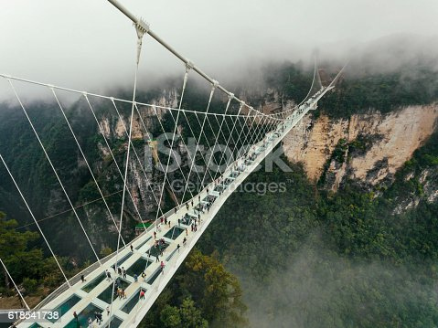 Worlds highest and longest glass Bridge as of 2016 in Zhangjiajie, CHunan, China
