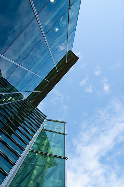 Glass Building Looking Up stock photo