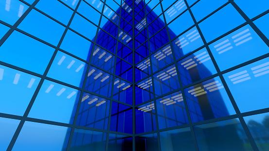 blue glass building skyscraper business finance 3D illustration