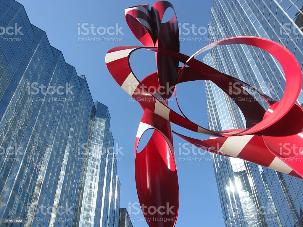Glass buildings with Red and White Sculpture, Oklahoma City, Oklahoma - Royalty-free Blue Stock Photo