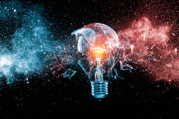 glass bulb explosion glass bulb explosion on black background destruction stock pictures, royalty-free photos & images