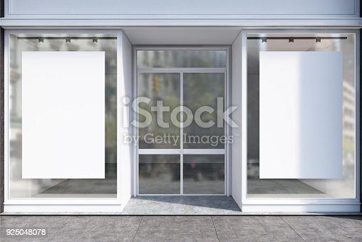 istock Glass cafe facade two posters 925048078