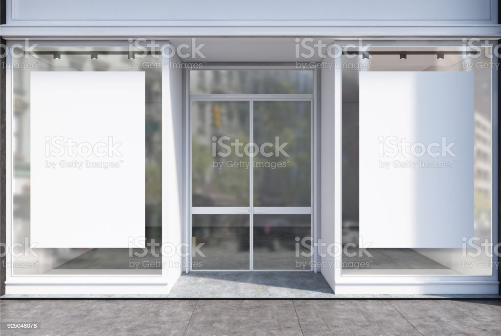 Glass cafe facade two posters stock photo