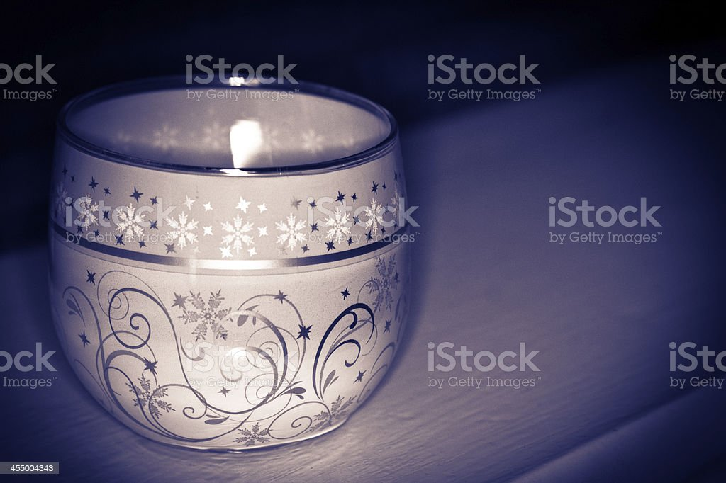 Glass candle holder stock photo