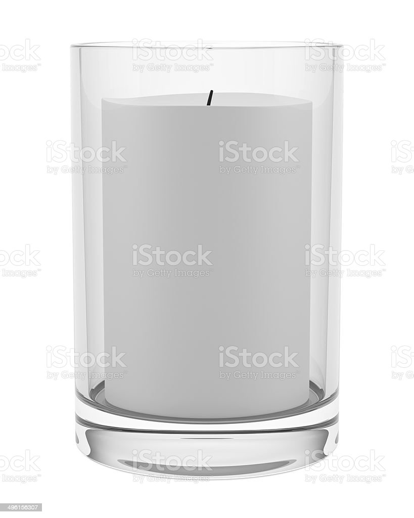 glass candlestick with candle isolated on white background stock photo