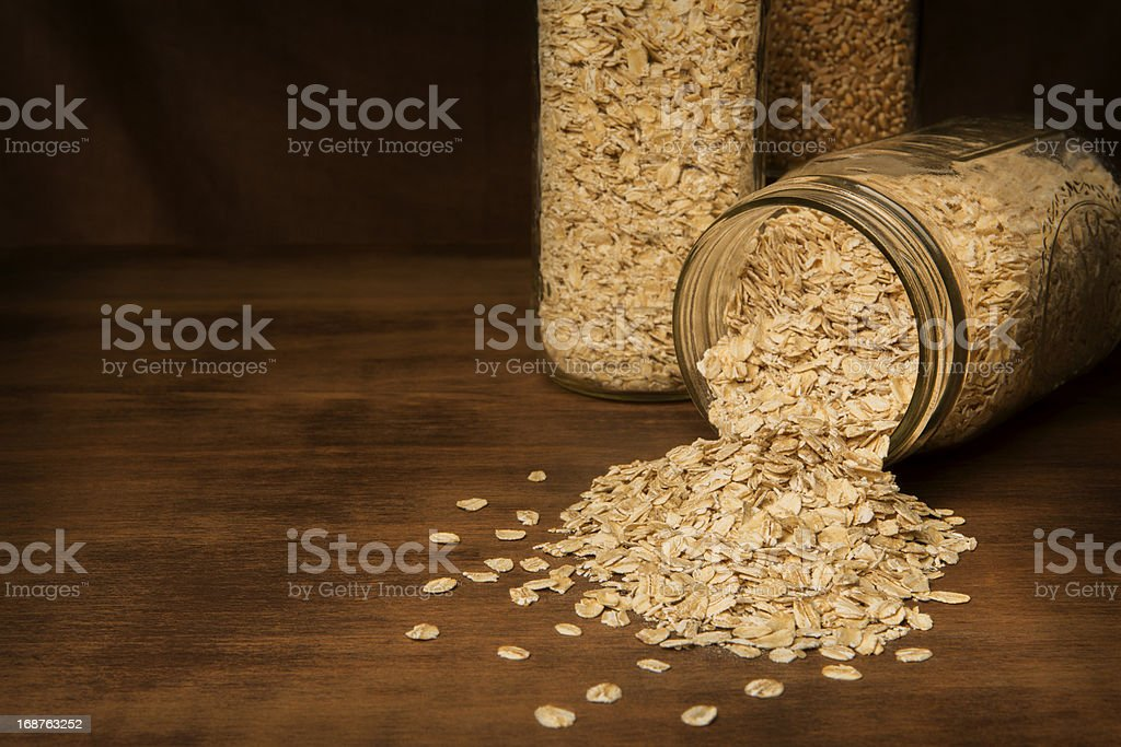 Glass Canning Jars With Rolled Oats royalty-free stock photo