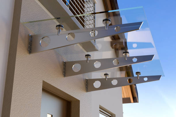 Glass canopy, 3D illustration House illustration canopy stock pictures, royalty-free photos & images