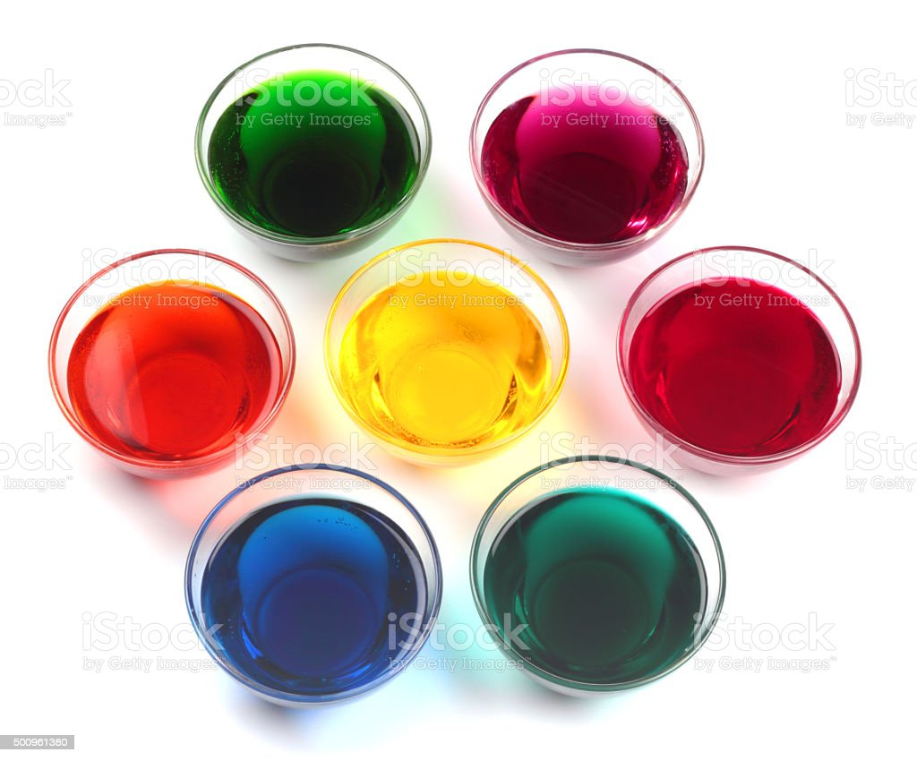 Glass caps with dyes stock photo