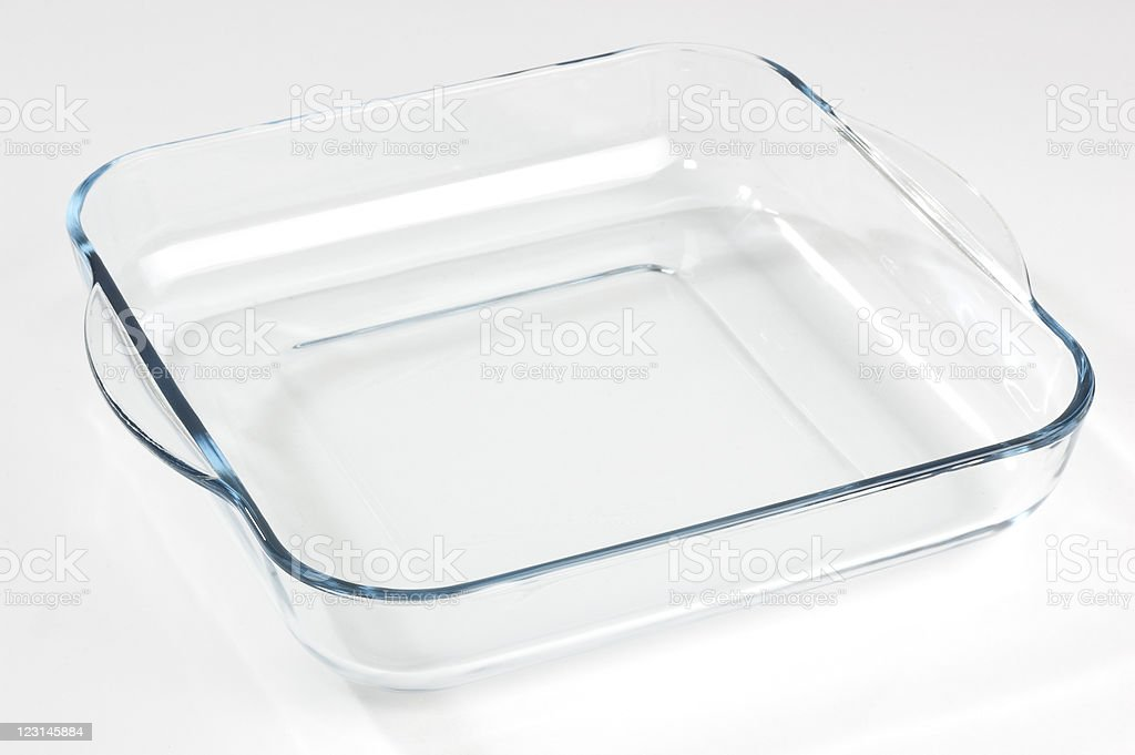 Glass casserole on a white background stock photo