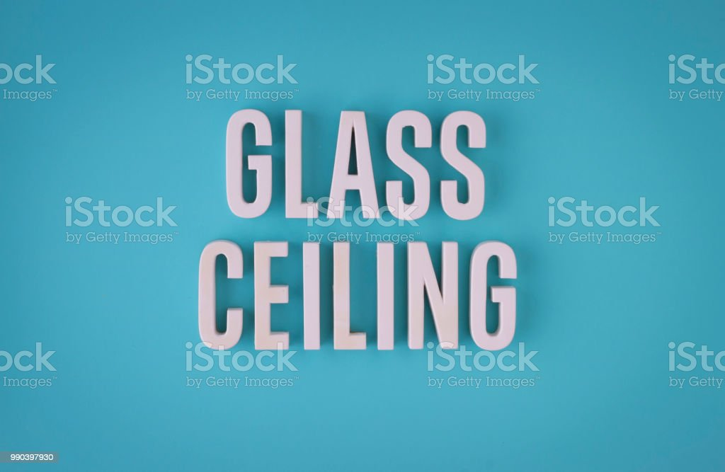 Glass Ceiling lettering sign stock photo