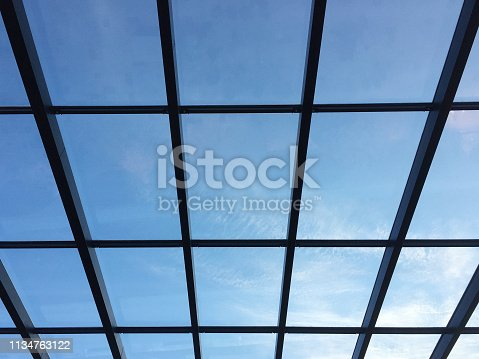 Glass ceiling with skylight