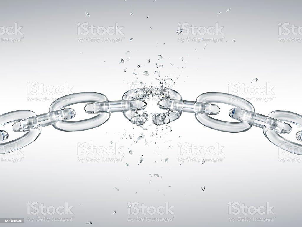 Glass chain breaking stock photo