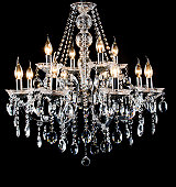 Contemporary glass chandelier isolated over black background