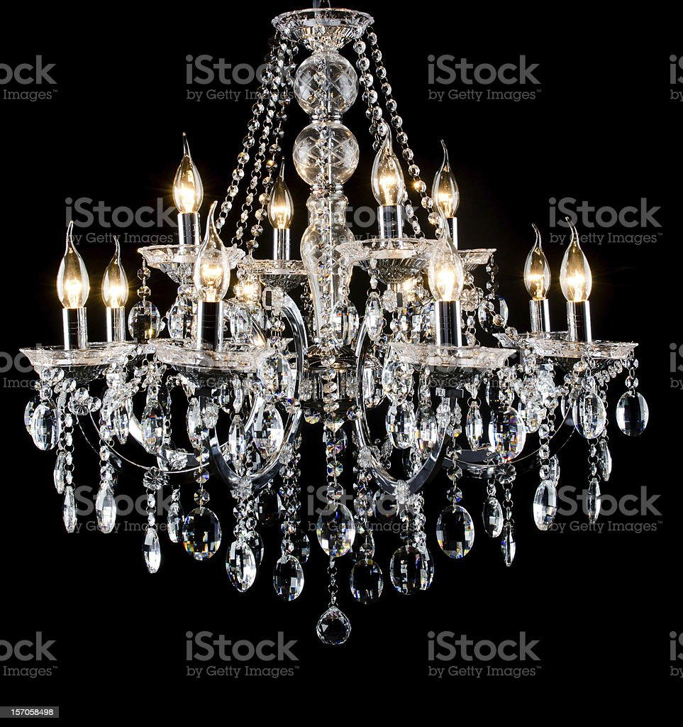 Glass chandelier with black background stock photo