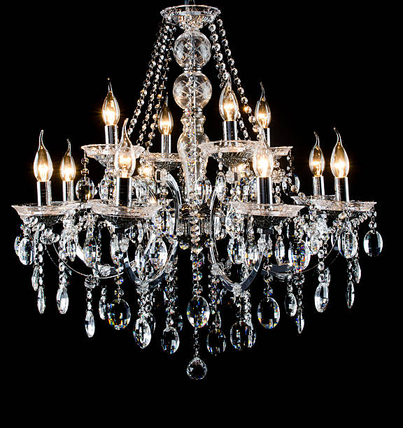 glass chandelier with black background - kroonluchter stockfoto's en -beelden