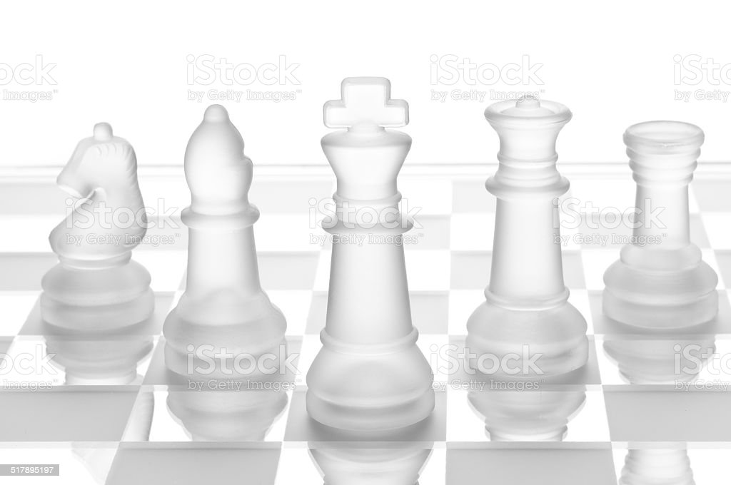 glass chess isolated on white stock photo