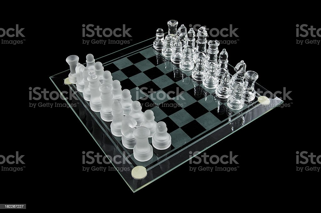 glass chess on a black background royalty-free stock photo
