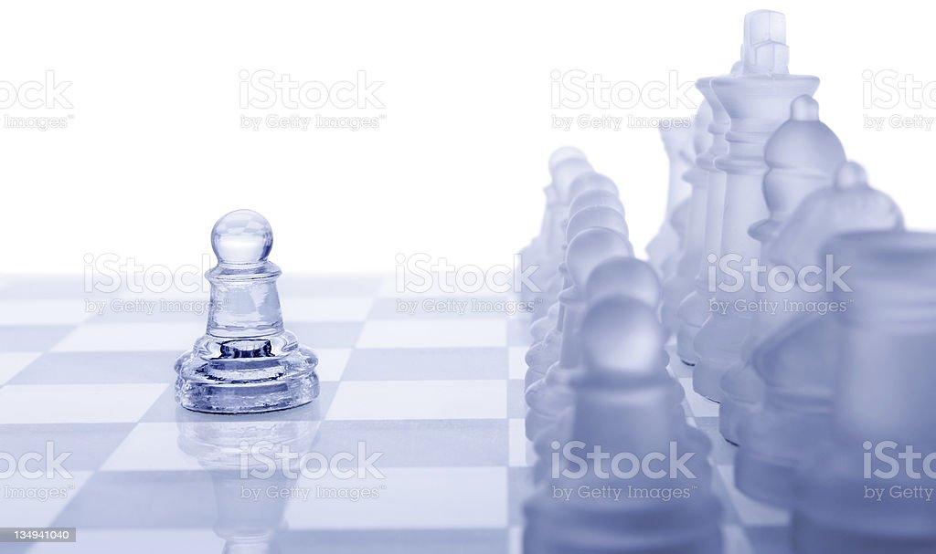Glass chess. The first move. royalty-free stock photo