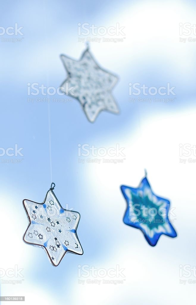 glass Christmas stars stock photo