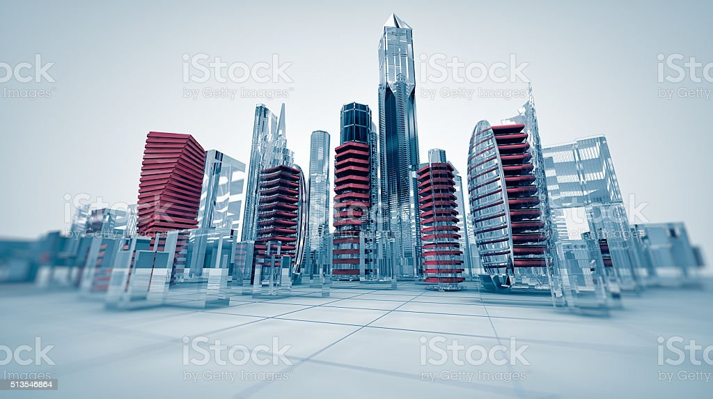 glass city stock photo