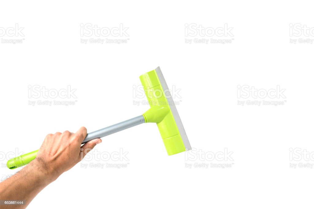 Glass cleaner tool in hand stock photo