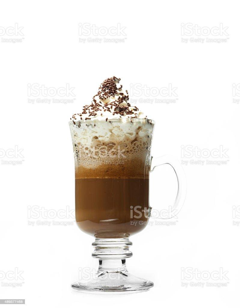 Glass coffee cup stock photo