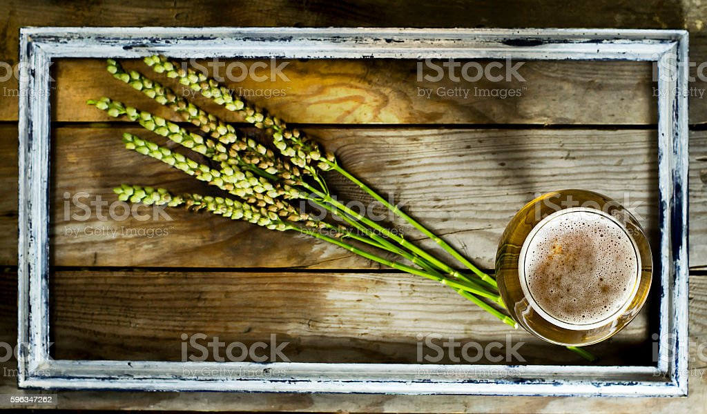 Glass cold beer with spikelets of wheat in old frame. royalty-free stock photo