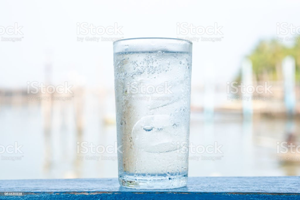 Glass cold water with ice royalty-free stock photo